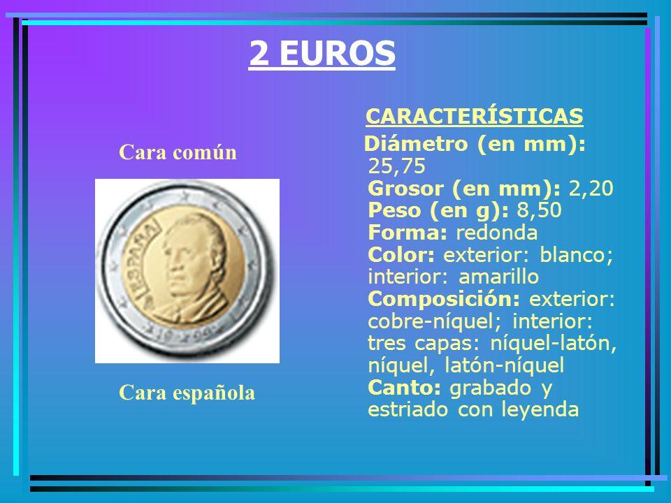 1 EURO CARACTERÍSTICAS Diámetro (en mm): 23,25 Grosor (en mm): 2,33 Peso (en g): 7,50 Forma: redonda Color: exterior: amarillo, interior: blanco Composición: exterior: níquel-latón; interior: tres capas: cobre-níquel, níquel, níquel-cobre Canto: estriado discontinuo Cara común Cara española