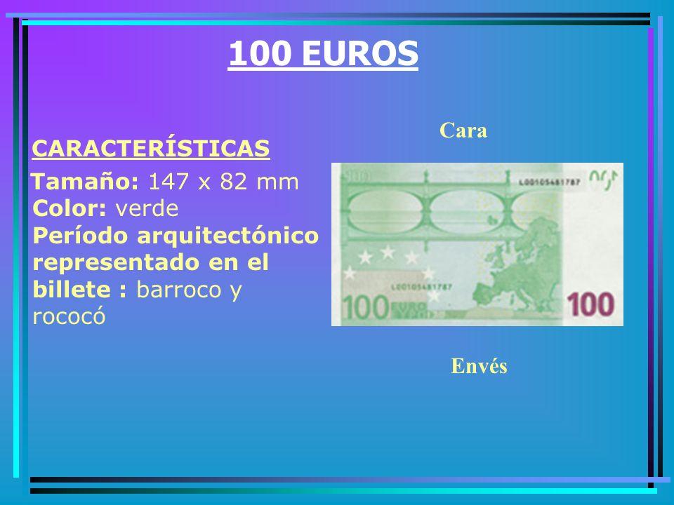 50 EUROS CARACTERÍSTICAS Tamaño: 140 x 77 mm Color: naranja Período arquitectónico representado en el billete : renacimiento Cara Envés