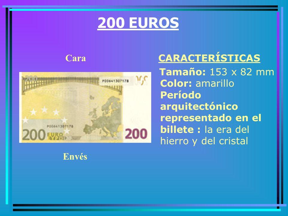 100 EUROS CARACTERÍSTICAS Tamaño: 147 x 82 mm Color: verde Período arquitectónico representado en el billete : barroco y rococó Cara Envés