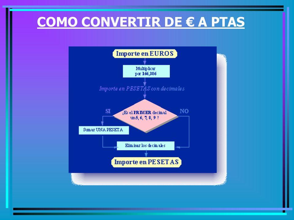 COMO CONVERTIR DE PTAS A
