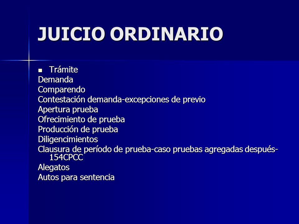 JUICIO ORDINARIO Trámite TrámiteDemandaComparendo Contestación demanda-excepciones de previo Apertura prueba Ofrecimiento de prueba Producción de prue
