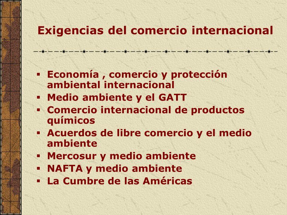 Exigencias del comercio internacional Economía, comercio y protección ambiental internacional Medio ambiente y el GATT Comercio internacional de produ