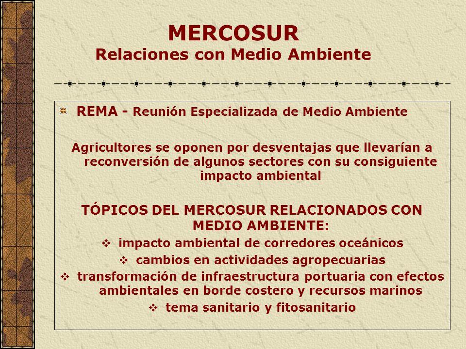MERCOSUR Relaciones con Medio Ambiente REMA - Reunión Especializada de Medio Ambiente Agricultores se oponen por desventajas que llevarían a reconvers
