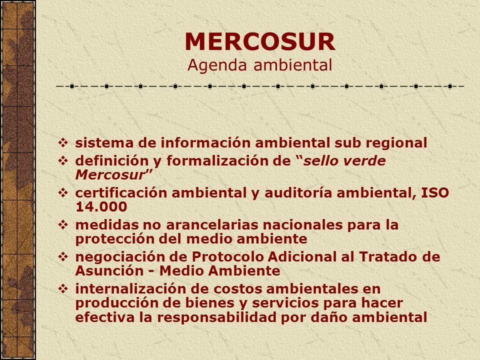 MERCOSUR Agenda ambiental sistema de información ambiental sub regional definición y formalización de sello verde Mercosur certificación ambiental y a