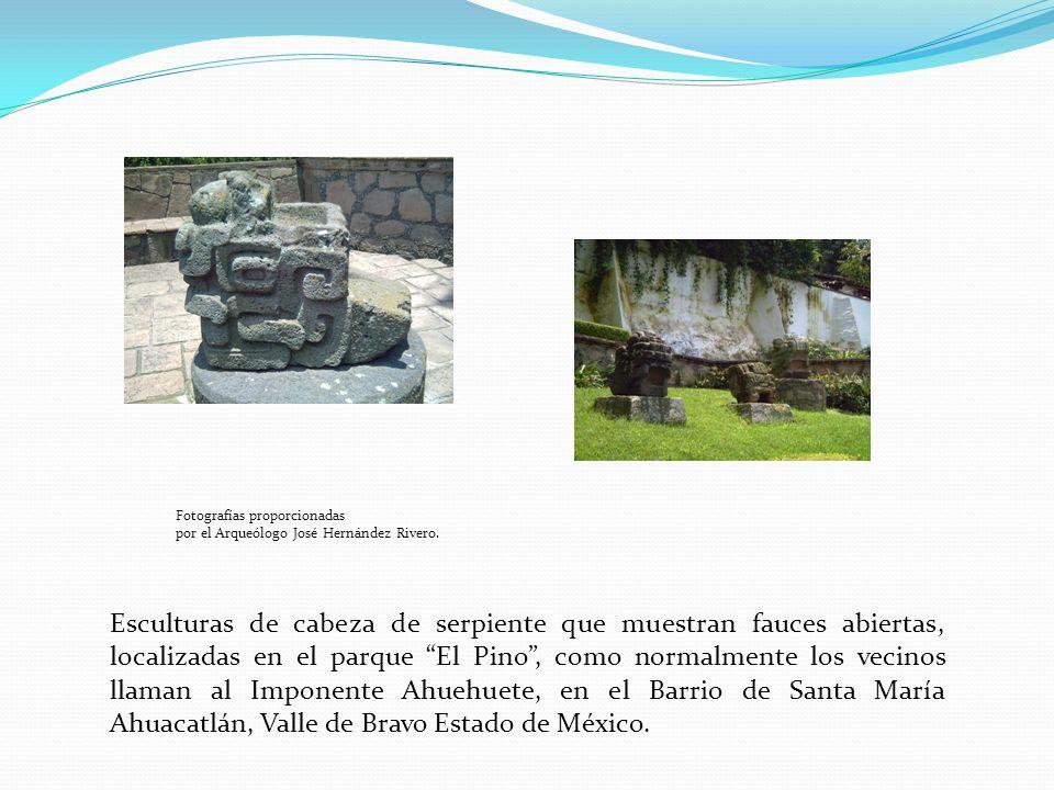 Esculturas de cabeza de serpiente que muestran fauces abiertas, localizadas en el parque El Pino, como normalmente los vecinos llaman al Imponente Ahuehuete, en el Barrio de Santa María Ahuacatlán, Valle de Bravo Estado de México.