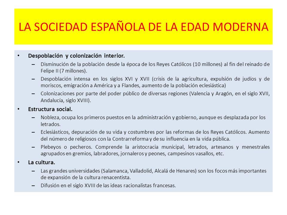 LA SOCIEDAD ESPAÑOLA DE LA EDAD MODERNA Despoblación y colonización interior. – Disminución de la población desde la época de los Reyes Católicos (10
