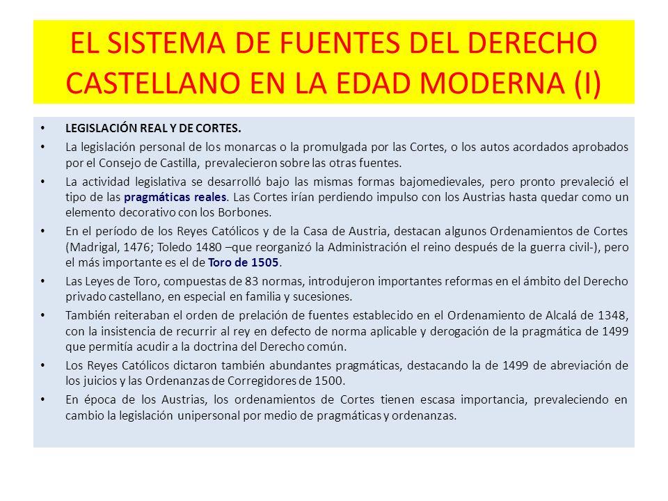 EL SISTEMA DE FUENTES DEL DERECHO CASTELLANO EN LA EDAD MODERNA (I) LEGISLACIÓN REAL Y DE CORTES. La legislación personal de los monarcas o la promulg