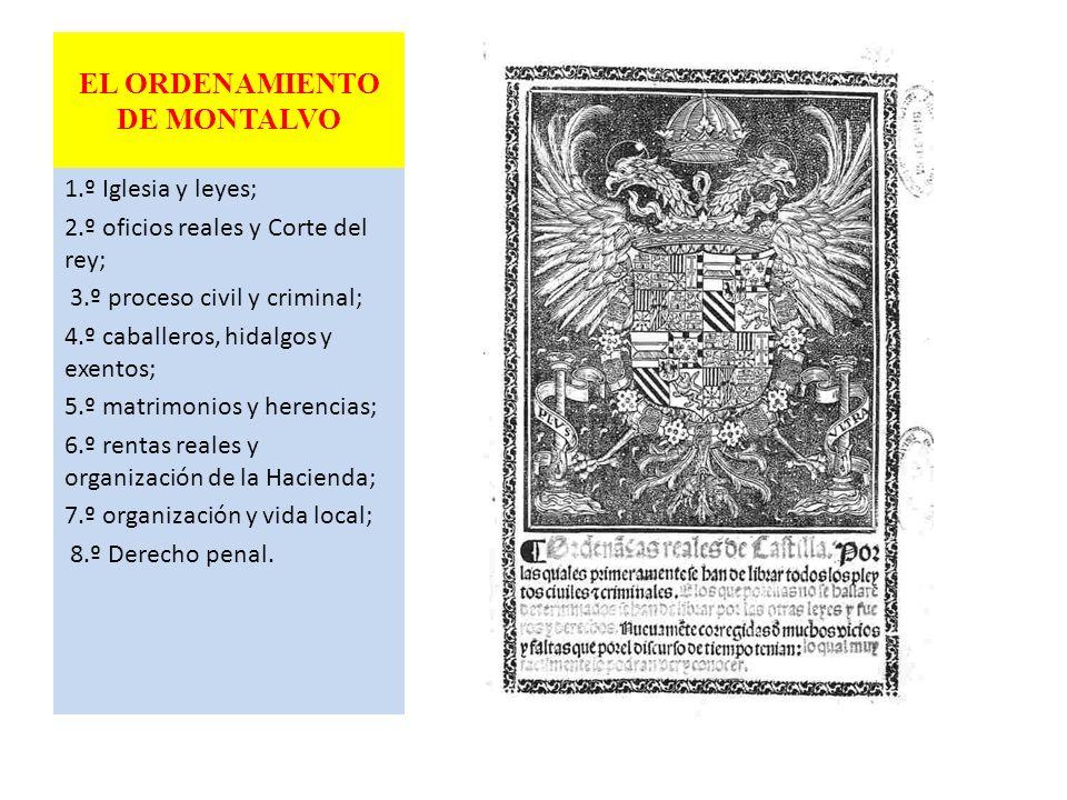 EL ORDENAMIENTO DE MONTALVO 1.º Iglesia y leyes; 2.º oficios reales y Corte del rey; 3.º proceso civil y criminal; 4.º caballeros, hidalgos y exentos;