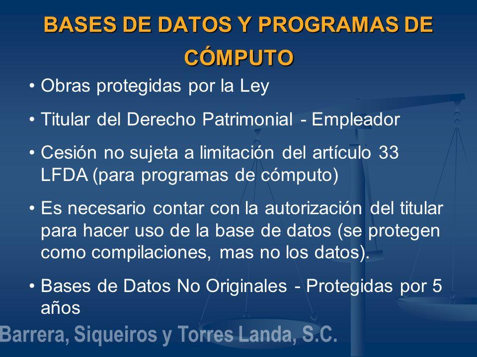 BASES DE DATOS Y PROGRAMAS DE CÓMPUTO Obras protegidas por la Ley Titular del Derecho Patrimonial - Empleador Cesión no sujeta a limitación del artícu