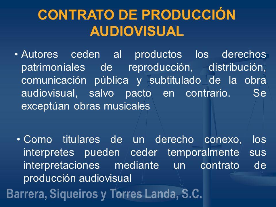 CONTRATO DE PRODUCCIÓN AUDIOVISUAL Autores ceden al productos los derechos patrimoniales de reproducción, distribución, comunicación pública y subtitu