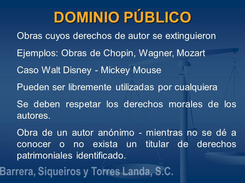 DOMINIO PÚBLICO Obras cuyos derechos de autor se extinguieron Ejemplos: Obras de Chopin, Wagner, Mozart Caso Walt Disney - Mickey Mouse Pueden ser lib