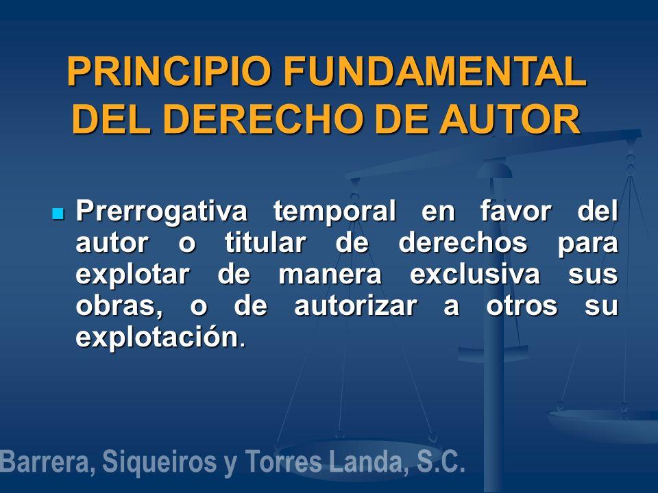 PRINCIPIO FUNDAMENTAL DEL DERECHO DE AUTOR Prerrogativa temporal en favor del autor o titular de derechos para explotar de manera exclusiva sus obras,