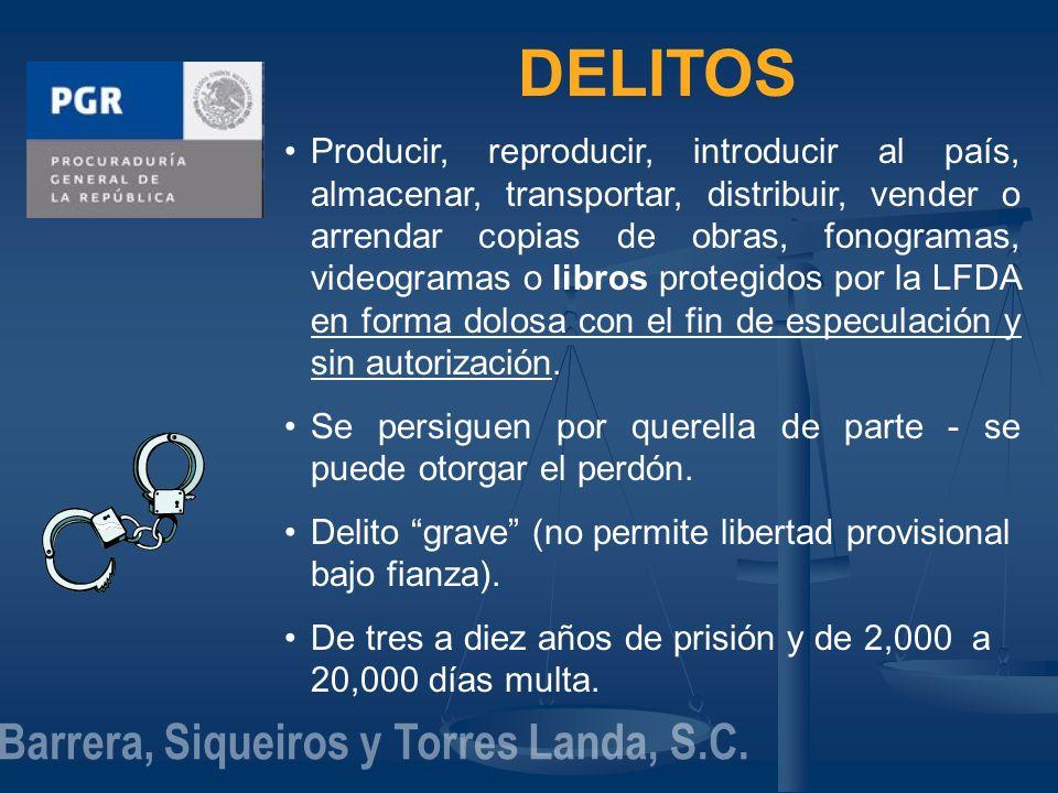 DELITOS Producir, reproducir, introducir al país, almacenar, transportar, distribuir, vender o arrendar copias de obras, fonogramas, videogramas o lib