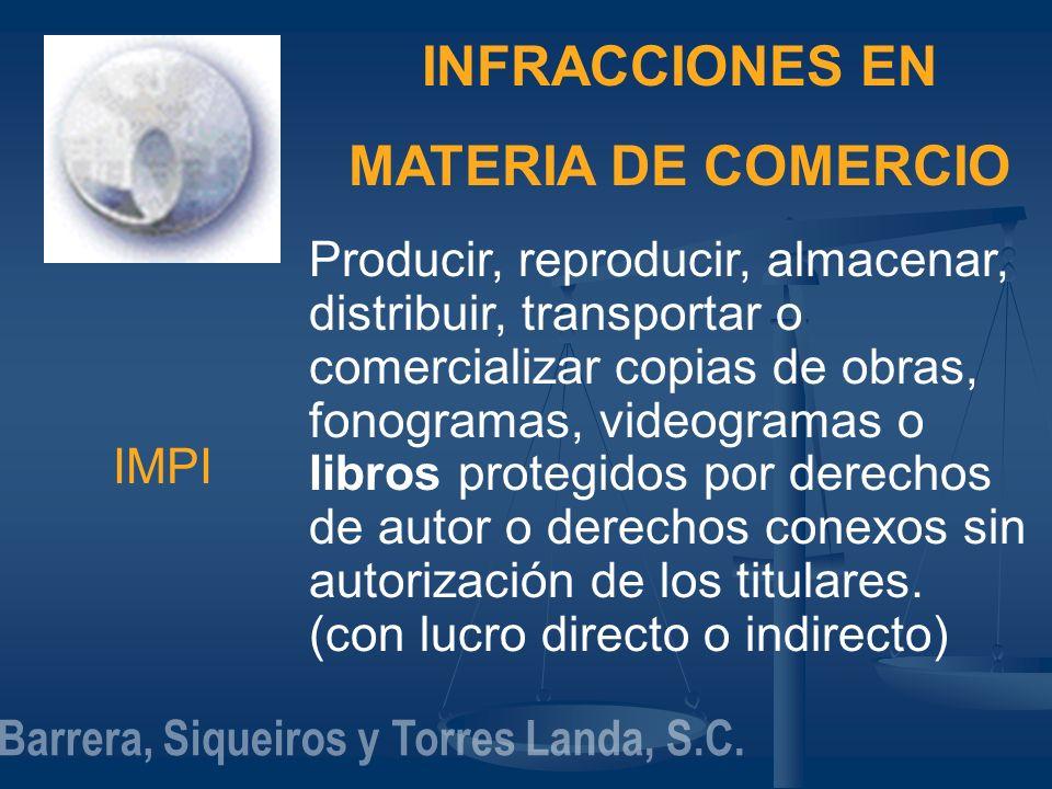 INFRACCIONES EN MATERIA DE COMERCIO IMPI Producir, reproducir, almacenar, distribuir, transportar o comercializar copias de obras, fonogramas, videogr