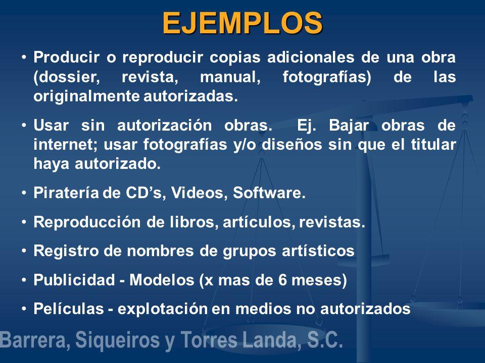 EJEMPLOS Producir o reproducir copias adicionales de una obra (dossier, revista, manual, fotografías) de las originalmente autorizadas. Usar sin autor