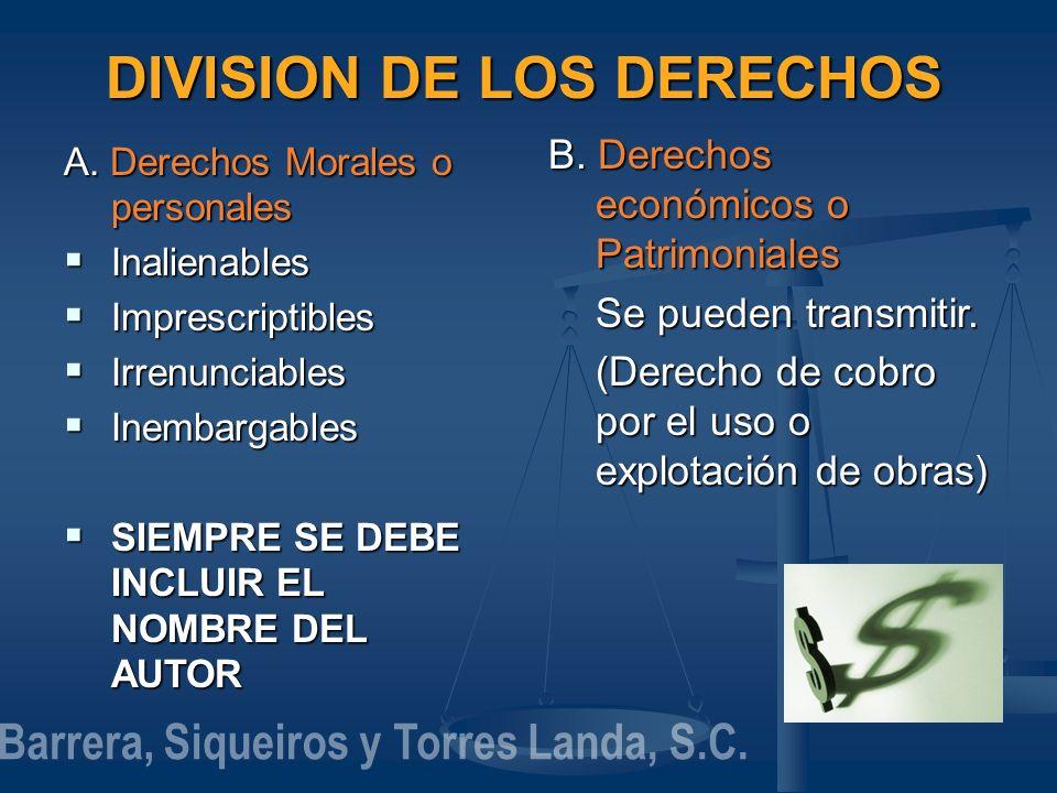 DIVISION DE LOS DERECHOS A. Derechos Morales o personales Inalienables Inalienables Imprescriptibles Imprescriptibles Irrenunciables Irrenunciables In
