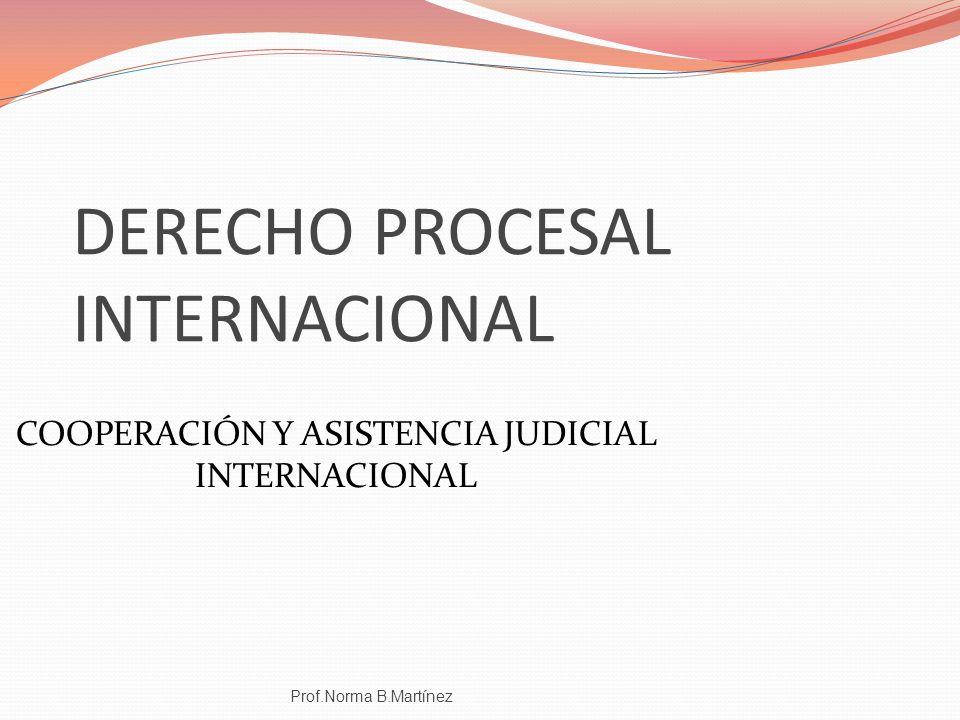 DERECHO PROCESAL INTERNACIONAL Prof.Norma B.Martínez COOPERACIÓN Y ASISTENCIA JUDICIAL INTERNACIONAL