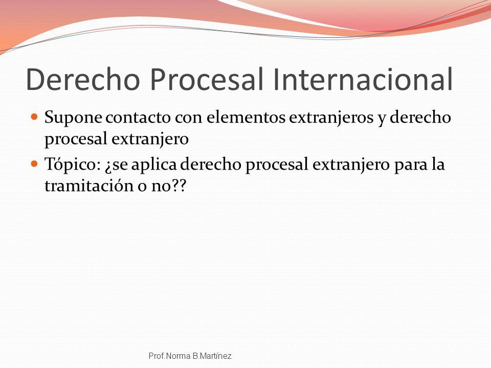Derecho Procesal Internacional Supone contacto con elementos extranjeros y derecho procesal extranjero Tópico: ¿se aplica derecho procesal extranjero