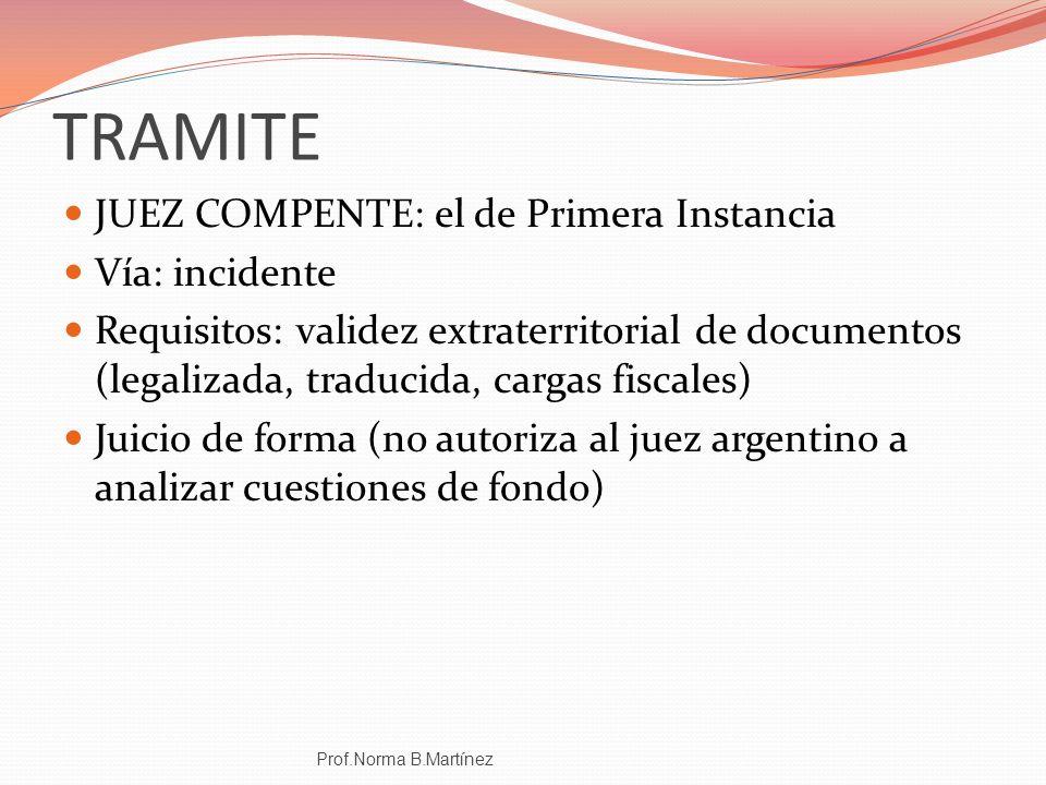 TRAMITE JUEZ COMPENTE: el de Primera Instancia Vía: incidente Requisitos: validez extraterritorial de documentos (legalizada, traducida, cargas fiscal