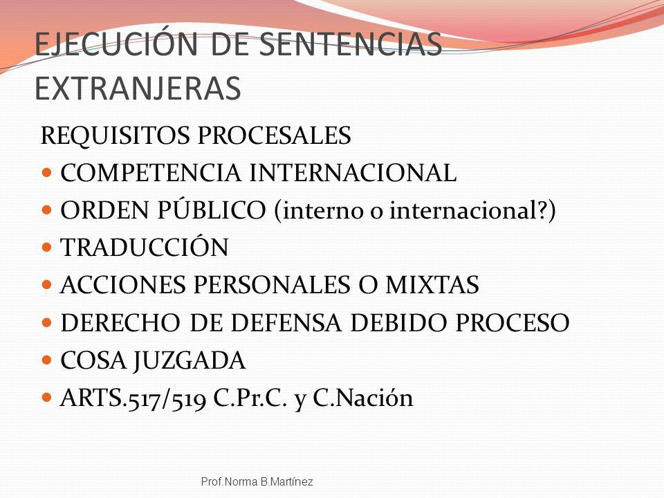 EJECUCIÓN DE SENTENCIAS EXTRANJERAS REQUISITOS PROCESALES COMPETENCIA INTERNACIONAL ORDEN PÚBLICO (interno o internacional?) TRADUCCIÓN ACCIONES PERSO
