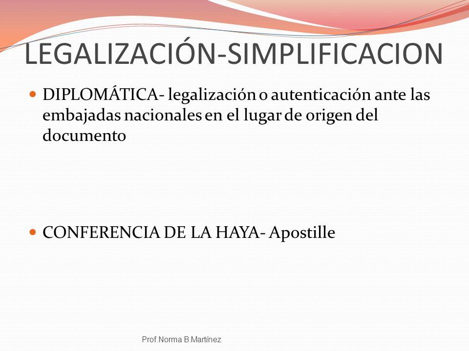 LEGALIZACIÓN-SIMPLIFICACION DIPLOMÁTICA- legalización o autenticación ante las embajadas nacionales en el lugar de origen del documento CONFERENCIA DE