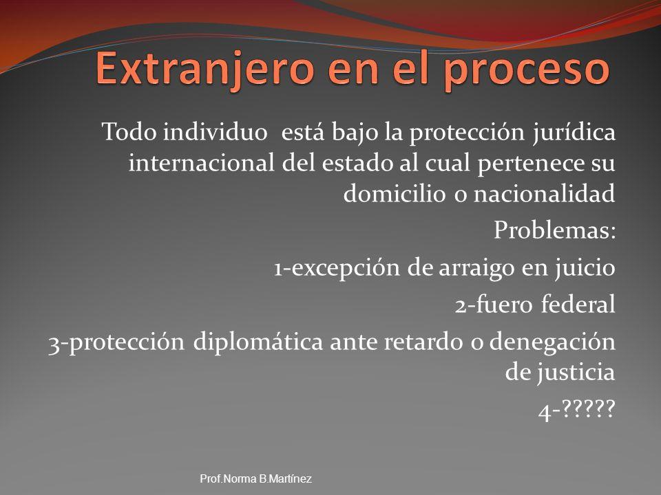 Todo individuo está bajo la protección jurídica internacional del estado al cual pertenece su domicilio o nacionalidad Problemas: 1-excepción de arrai