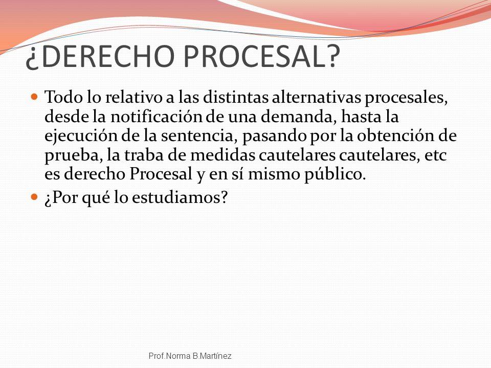 ¿DERECHO PROCESAL? Todo lo relativo a las distintas alternativas procesales, desde la notificación de una demanda, hasta la ejecución de la sentencia,