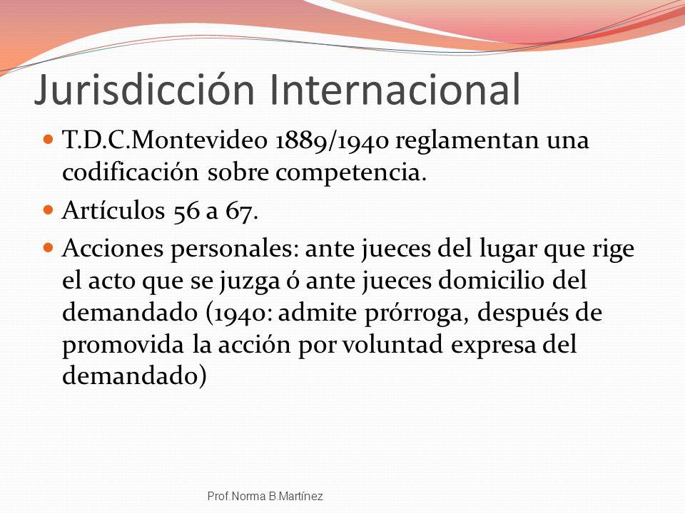Jurisdicción Internacional T.D.C.Montevideo 1889/1940 reglamentan una codificación sobre competencia. Artículos 56 a 67. Acciones personales: ante jue