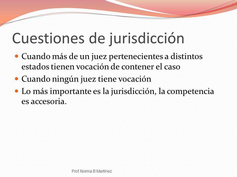Cuestiones de jurisdicción Cuando más de un juez pertenecientes a distintos estados tienen vocación de contener el caso Cuando ningún juez tiene vocac