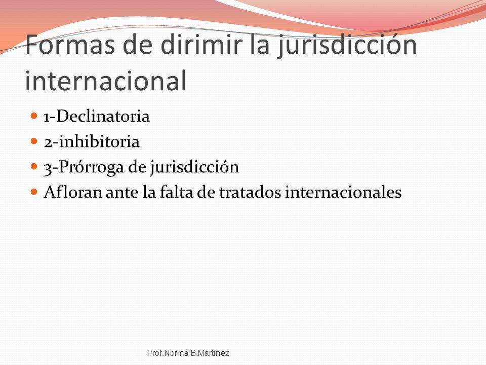 Formas de dirimir la jurisdicción internacional 1-Declinatoria 2-inhibitoria 3-Prórroga de jurisdicción Afloran ante la falta de tratados internaciona