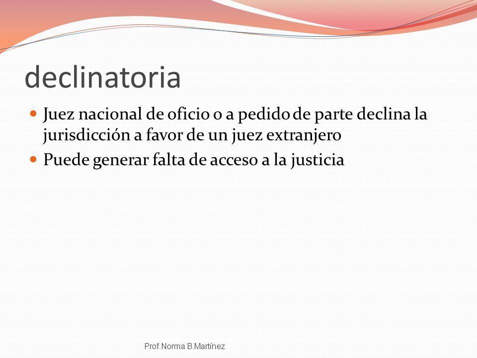 declinatoria Juez nacional de oficio o a pedido de parte declina la jurisdicción a favor de un juez extranjero Puede generar falta de acceso a la just