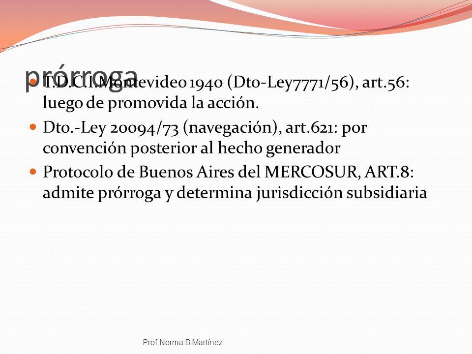 prórroga T.D.C.I.Montevideo 1940 (Dto-Ley7771/56), art.56: luego de promovida la acción. Dto.-Ley 20094/73 (navegación), art.621: por convención poste