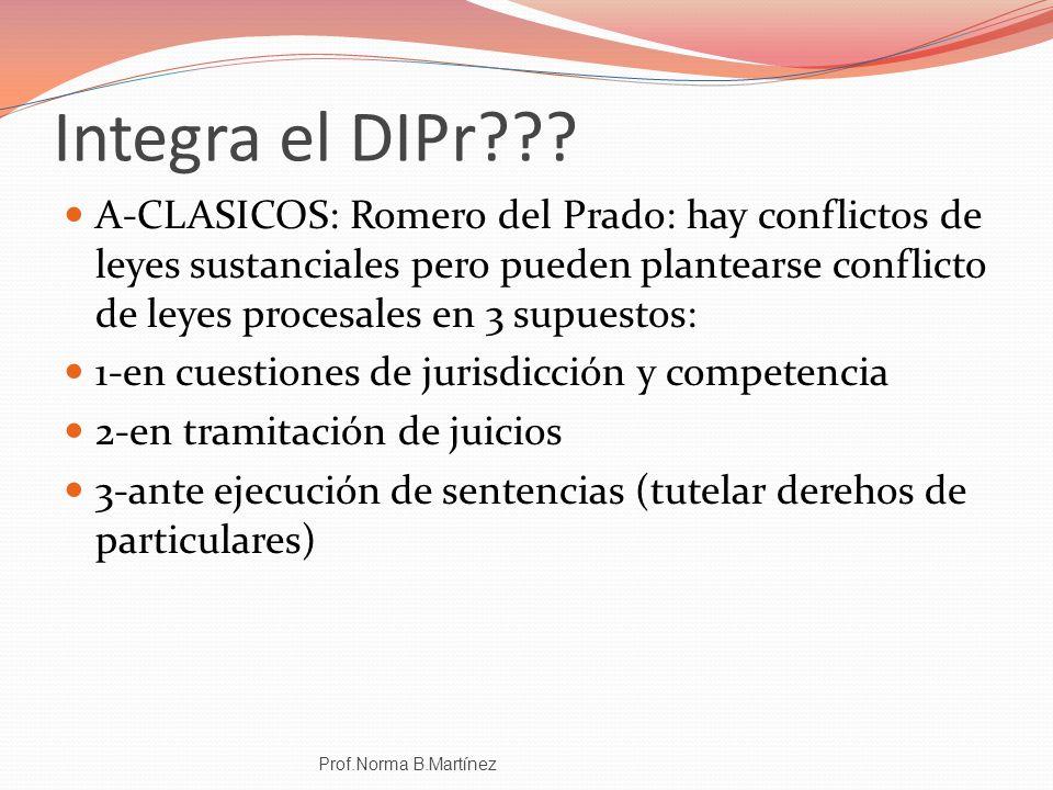 Integra el DIPr??? A-CLASICOS: Romero del Prado: hay conflictos de leyes sustanciales pero pueden plantearse conflicto de leyes procesales en 3 supues