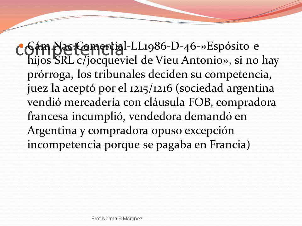 competencia Cám.Nac.Comercial-LL1986-D-46-»Espósito e hijos SRL c/jocqueviel de Vieu Antonio», si no hay prórroga, los tribunales deciden su competenc