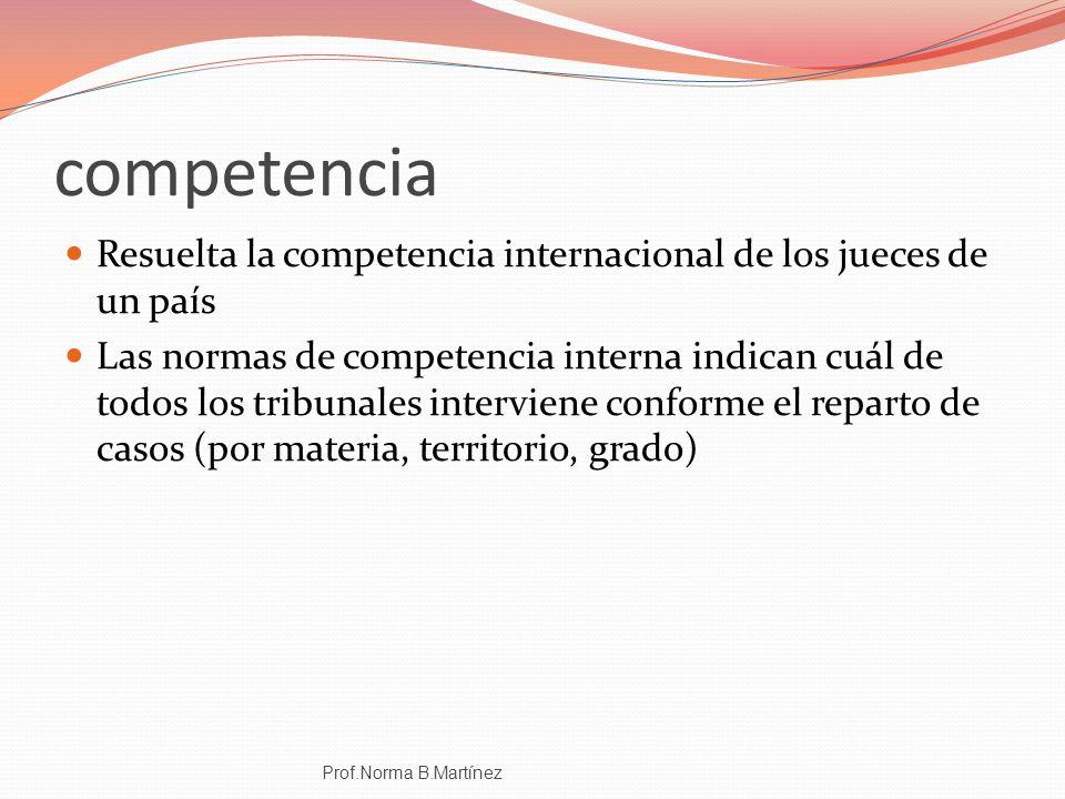 competencia Resuelta la competencia internacional de los jueces de un país Las normas de competencia interna indican cuál de todos los tribunales inte