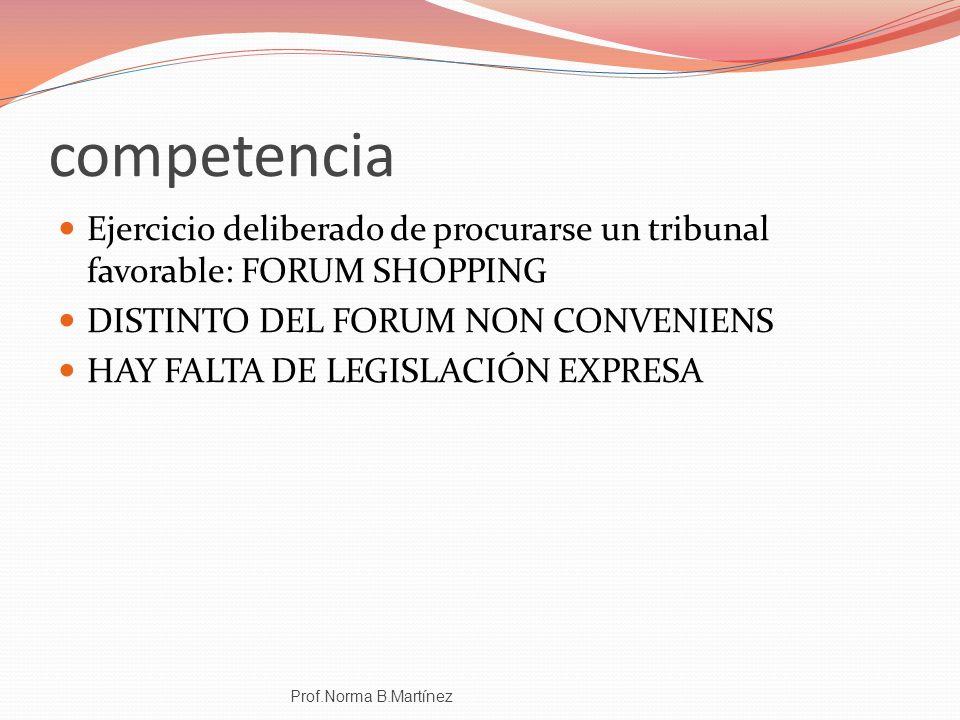 competencia Ejercicio deliberado de procurarse un tribunal favorable: FORUM SHOPPING DISTINTO DEL FORUM NON CONVENIENS HAY FALTA DE LEGISLACIÓN EXPRES