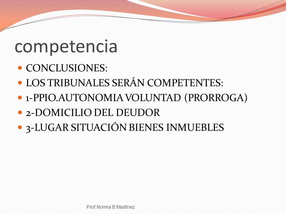 competencia CONCLUSIONES: LOS TRIBUNALES SERÁN COMPETENTES: 1-PPIO.AUTONOMIA VOLUNTAD (PRORROGA) 2-DOMICILIO DEL DEUDOR 3-LUGAR SITUACIÓN BIENES INMUE
