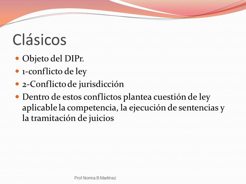 Clásicos Objeto del DIPr. 1-conflicto de ley 2-Conflicto de jurisdicción Dentro de estos conflictos plantea cuestión de ley aplicable la competencia,