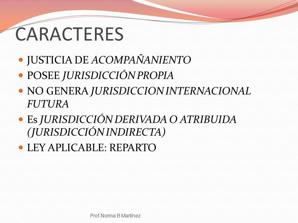 CARACTERES JUSTICIA DE ACOMPAÑANIENTO POSEE JURISDICCIÓN PROPIA NO GENERA JURISDICCION INTERNACIONAL FUTURA Es JURISDICCIÓN DERIVADA O ATRIBUIDA (JURI