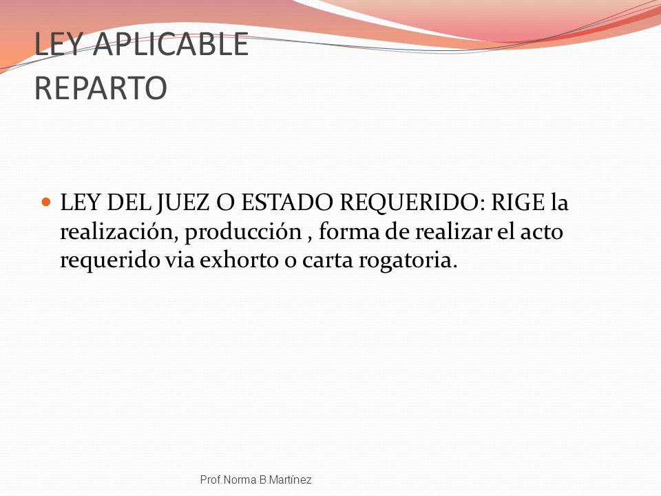 LEY APLICABLE REPARTO LEY DEL JUEZ O ESTADO REQUERIDO: RIGE la realización, producción, forma de realizar el acto requerido via exhorto o carta rogato