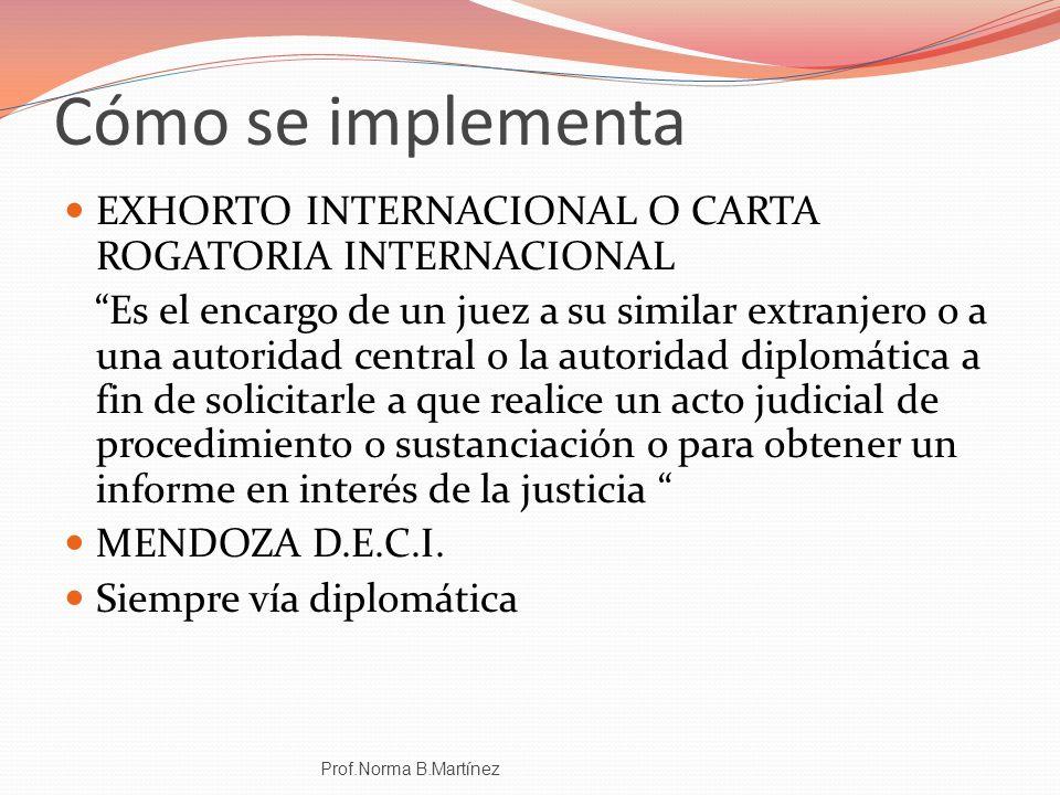 Cómo se implementa EXHORTO INTERNACIONAL O CARTA ROGATORIA INTERNACIONAL Es el encargo de un juez a su similar extranjero o a una autoridad central o