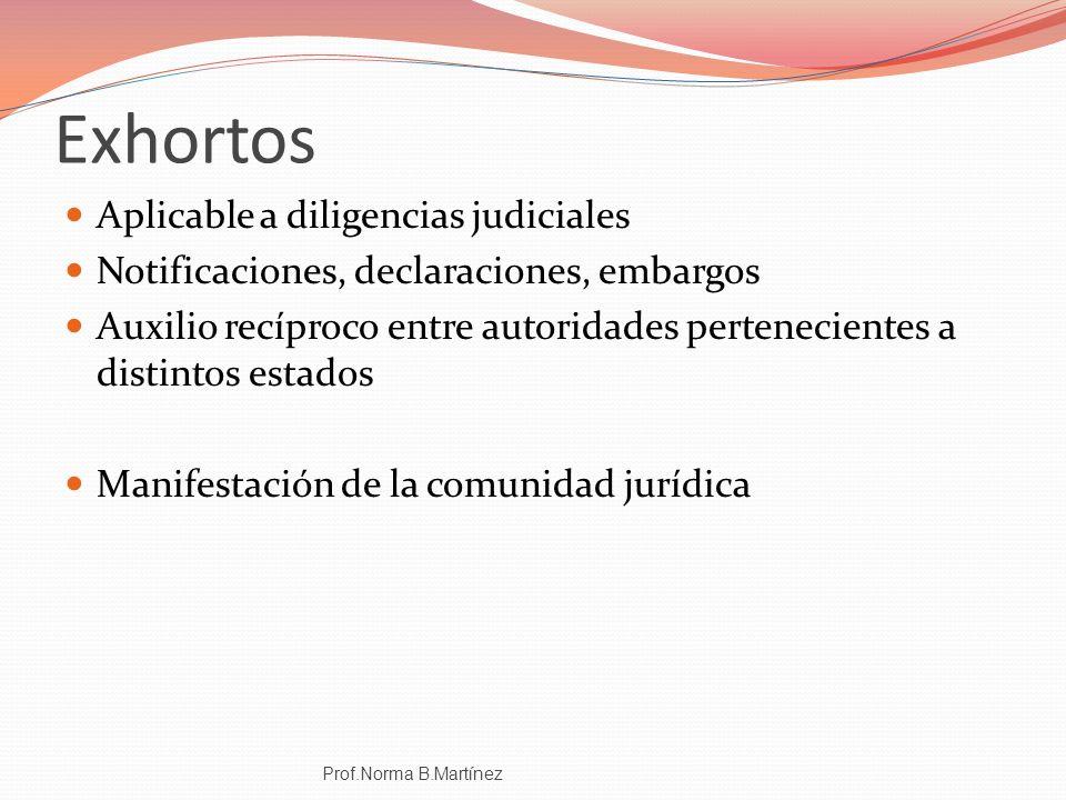 Exhortos Aplicable a diligencias judiciales Notificaciones, declaraciones, embargos Auxilio recíproco entre autoridades pertenecientes a distintos est