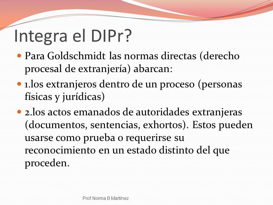Integra el DIPr? Para Goldschmidt las normas directas (derecho procesal de extranjería) abarcan: 1.los extranjeros dentro de un proceso (personas físi