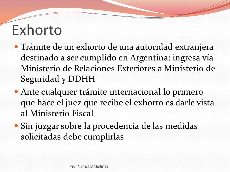 Exhorto Trámite de un exhorto de una autoridad extranjera destinado a ser cumplido en Argentina: ingresa vía Ministerio de Relaciones Exteriores a Min