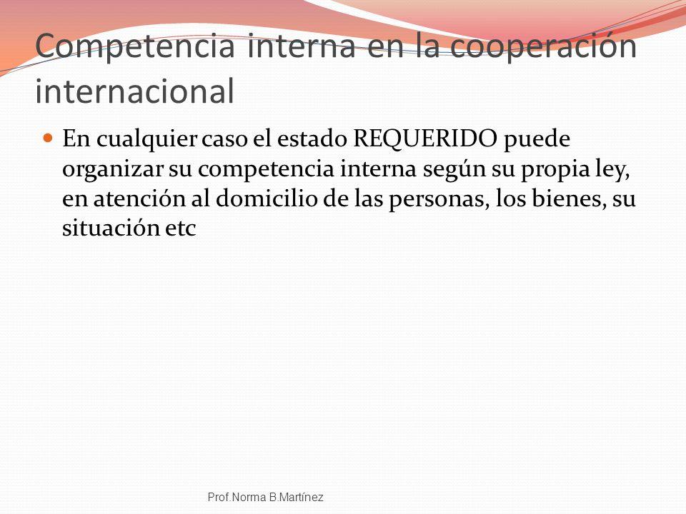 Competencia interna en la cooperación internacional En cualquier caso el estado REQUERIDO puede organizar su competencia interna según su propia ley,