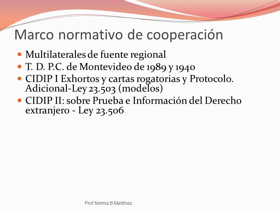 Marco normativo de cooperación Multilaterales de fuente regional T. D. P.C. de Montevideo de 1989 y 1940 CIDIP I Exhortos y cartas rogatorias y Protoc
