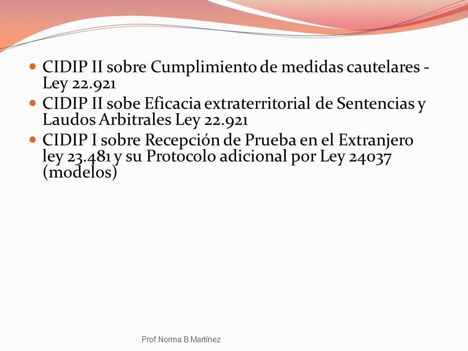 CIDIP II sobre Cumplimiento de medidas cautelares - Ley 22.921 CIDIP II sobe Eficacia extraterritorial de Sentencias y Laudos Arbitrales Ley 22.921 CI