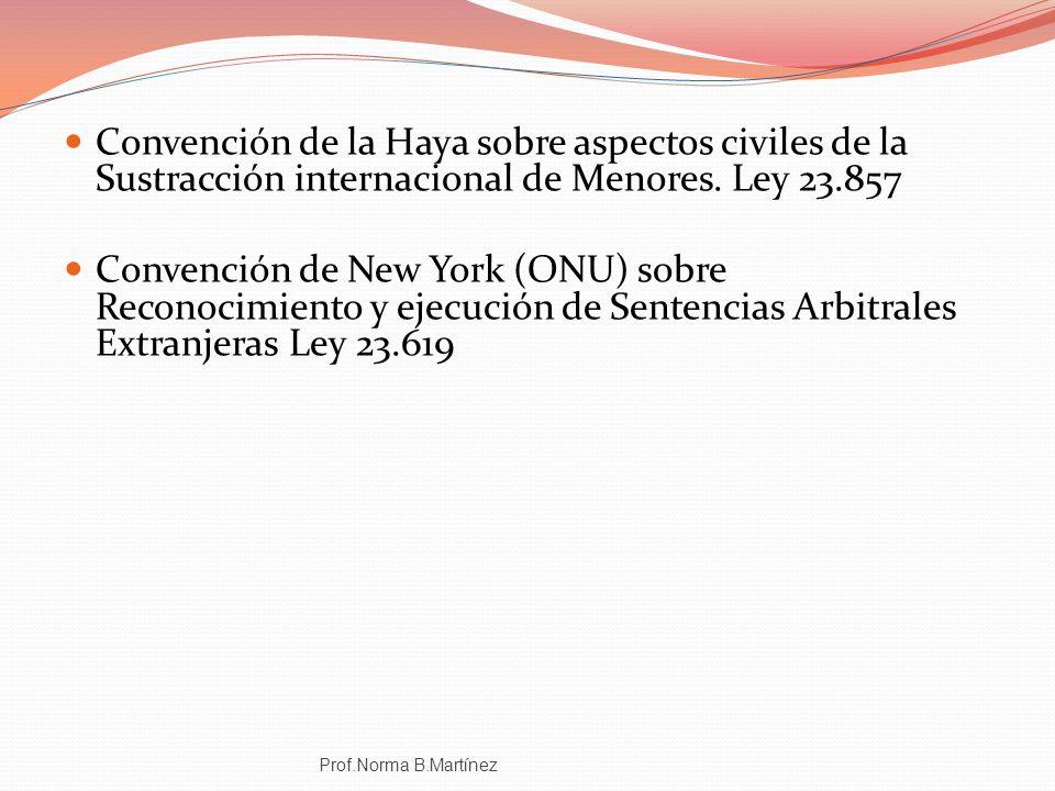 Convención de la Haya sobre aspectos civiles de la Sustracción internacional de Menores. Ley 23.857 Convención de New York (ONU) sobre Reconocimiento