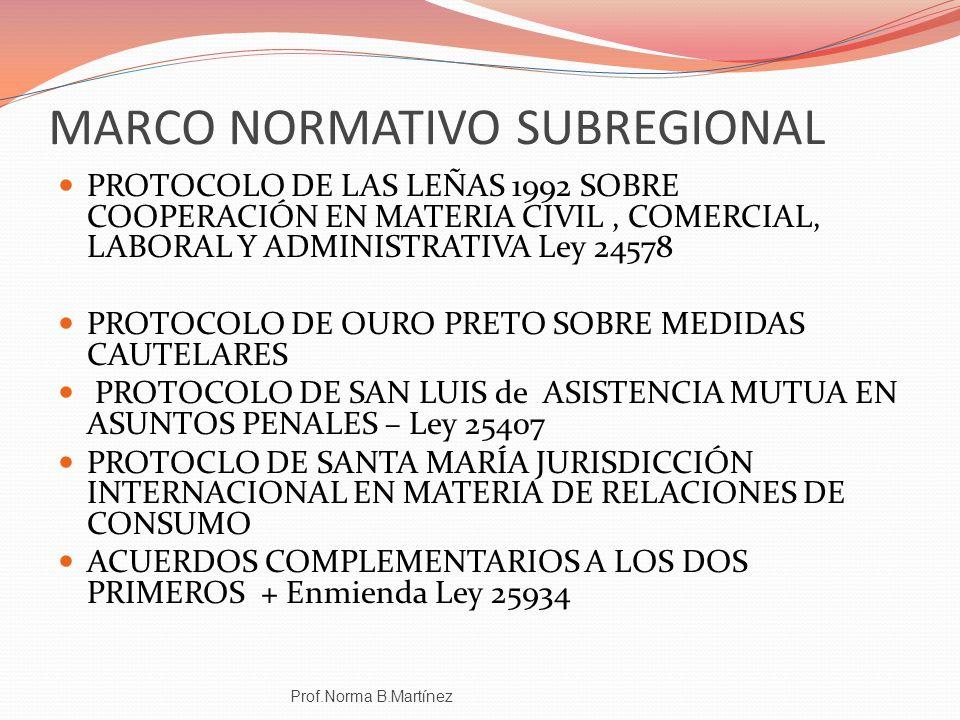 MARCO NORMATIVO SUBREGIONAL PROTOCOLO DE LAS LEÑAS 1992 SOBRE COOPERACIÓN EN MATERIA CIVIL, COMERCIAL, LABORAL Y ADMINISTRATIVA Ley 24578 PROTOCOLO DE
