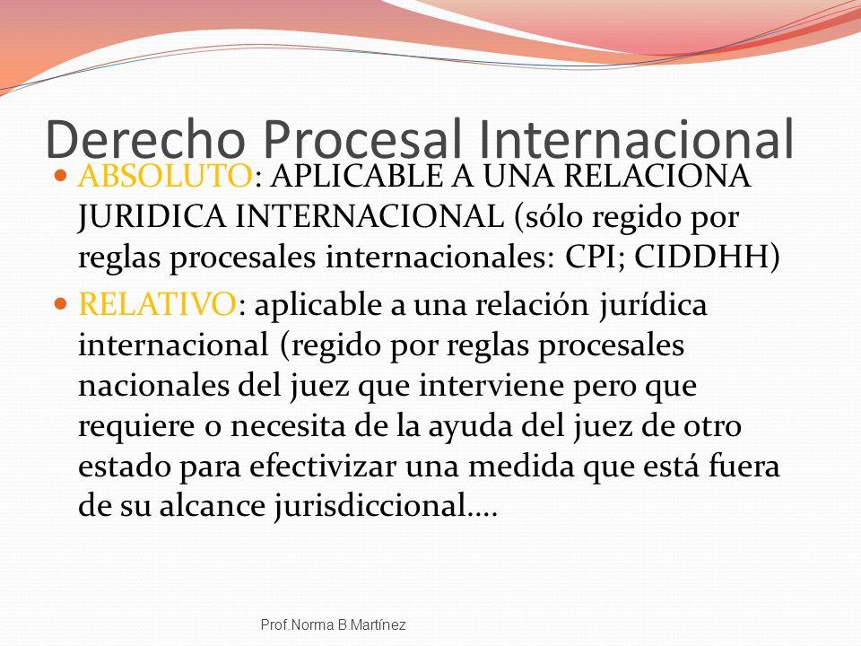 CARACTERES JUSTICIA DE ACOMPAÑANIENTO POSEE JURISDICCIÓN PROPIA NO GENERA JURISDICCION INTERNACIONAL FUTURA Es JURISDICCIÓN DERIVADA O ATRIBUIDA (JURISDICCIÓN INDIRECTA) LEY APLICABLE: REPARTO Prof.Norma B.Martínez